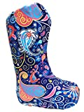 My Recovers Walking Boot Cover for Fracture Boot, Fashion Cover in Bright Blue Paisley, Tall Boot, Made in USA, Medical Fashion (LG)