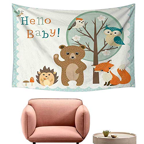 Wall Tapestry Kids Hello Baby Arrival Funny Hedgehog Bee Owls Birds on Tree Bear Fox Animals Themed Party Home Decor Living Room Background Decorative Painting -