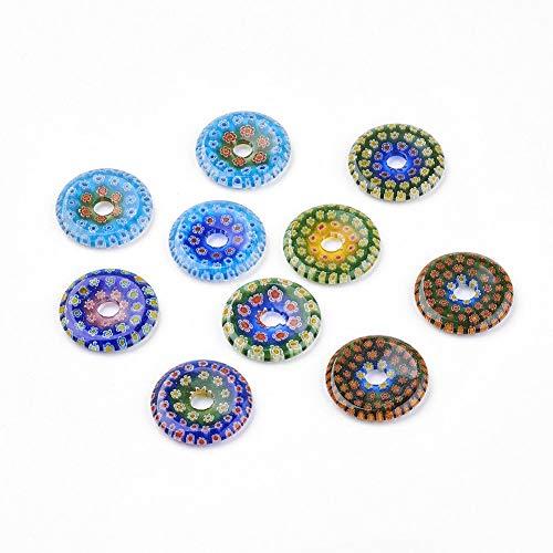 10pcs Handmade Millefiori Glass Pendants Flat Round Lampwork Dangle Charms 30mm