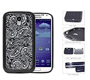 Black and White Bandana Paisley Design Pattern 2-Piece High Impact Dual Layer Black Silicone Cell Phone Case Samsung Galaxy S4 I9500