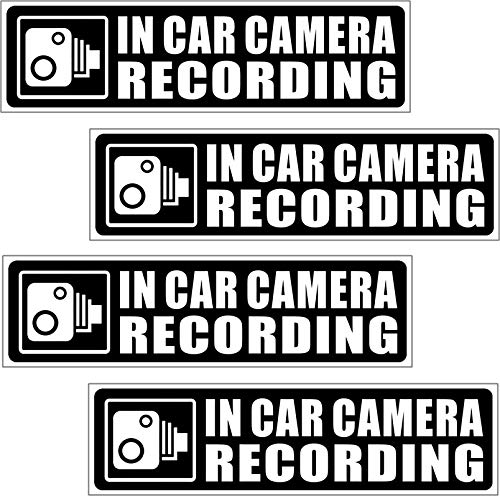 in Car Camera Recording 4 Pack Vehicle Car Truck Video Dash Cam On Board Bumper Window Safety Security Caution Warning Adhesive Vinyl Decal Label Sticker 134.6mm x 34.3mm