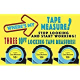 Where's My Tape Measure? - 3 Pack of 10 ft, Locking, Auto-Wind Measuring Tapes with Fractions. Easy to Read. EASY TO FIND!