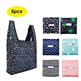 6 Pack Reusable Shopping Grocery Bags Foldable, Washable Grocery Tote...
