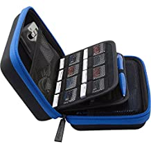 BRENDO New Nintendo 3DS XL Carrying Case / 3DS Hard Case with 24 Game Cartridge Holders and Large Stylus - BLACK/BLUE