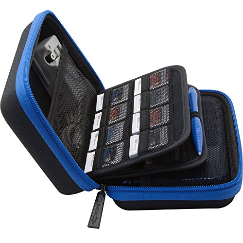 Brendo 3DS XL / 3DS Case with 24 Game Cartridge Holders and Large Stylus - Black/Blue (Clear Title Pocket)