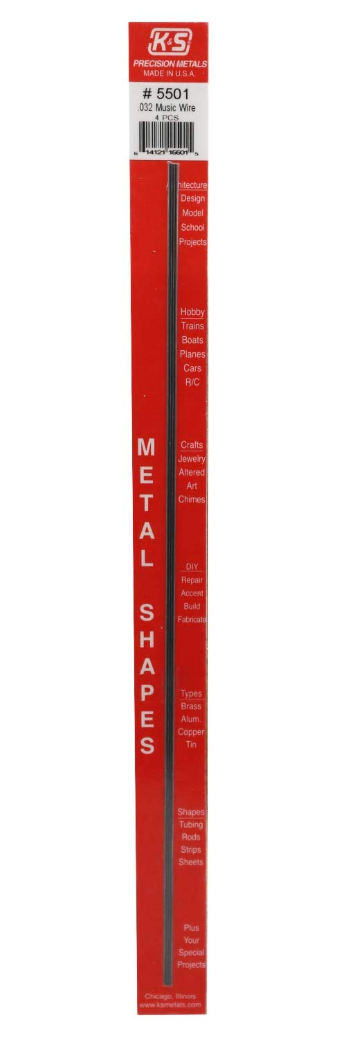 """K&S Precision Metals 5501 Music Wire.032"""" X 12"""" Long, 4 Pieces per Pack, Made in The USA"""