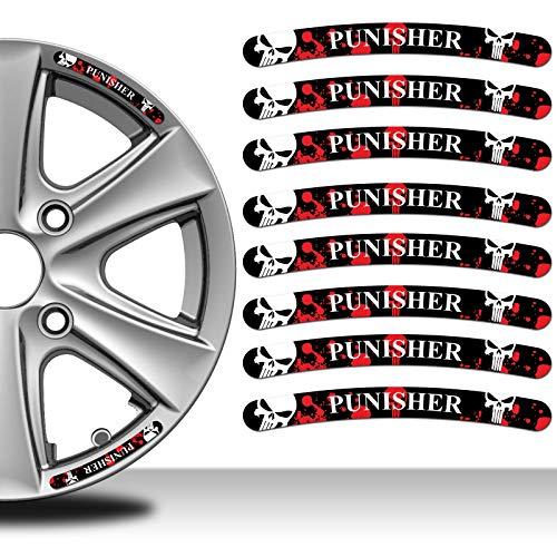 Skino 8 x Decals Self-Adhesive Wheel Rim Vinyl Stickers The Punisher Skull Emblem Decoration Accessories Auto Moto Motorcycle Car Van Bumper Tyre Truck Racing Tuning RV 36