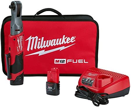 Milwaukee 2557-22 M12 FUEL 12-Volt Lithium-Ion Brushless Cordless 3 8 in. Ratchet Kit W 2 2.0Ah Batteries, Charger and Tool Bag