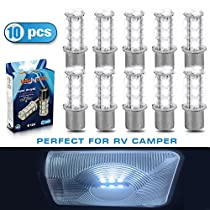 1156 7506 1003 1141 BA15S 18 smd 5050 LED Car Lights Bulbs - 10 pack Cool Cold White 12V LED Bulbs - Perfect for RV Camper Motorhome (View amazon detail page)