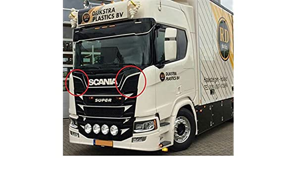 2 x Espejo Pulido Borde Superior con rejilla de ventilación de acero inoxidable para Scania Serie S 2016 +: Amazon.es: Coche y moto