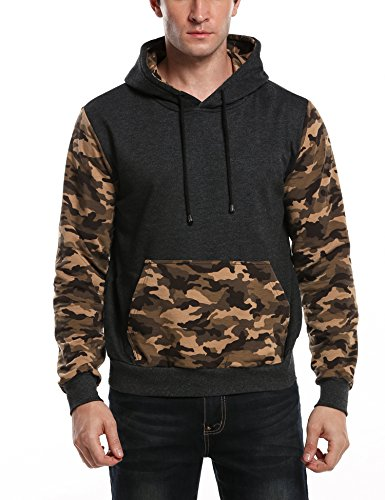 JINIDU Mens Camo Pullover Hoodie Camouflage Hooded Sweatshirts with Zipper Pocket