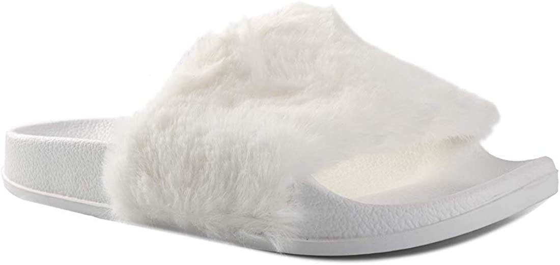Luxe L 100/% Faux Fur Womens Faux Sheepskin Fur Slides Plush Comfortable Modern Slide Sandals Slippers Slip-Ons