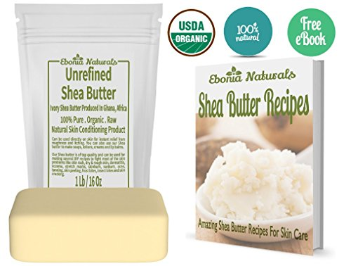 Unrefined shea butter from Ebonia Naturals - African, Raw Deep Conditioning moisturizer - use directly or in DIY recipes for eczema, dermatitis, skin care,acne - make bars, lotions and creams