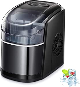 Kismile Counter top Ice Maker Machine,26Lbs/24H Compact Automatic Ice Makers,9 Cubes Ready in 6-8 Minutes,Portable Ice Cube Maker with Self-cleaning Program,Perfect for Home/Kitchen/Office/Bar (Black)
