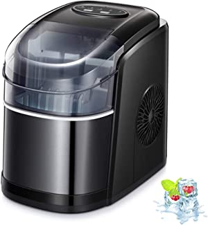 Kismile Counter top Ice Maker Machine with Self-cleaning, 26LBS/24H Compact Automatic Ice Maker,9 Cubes Ready in 6-8 Minutes,Portable Ice Cube Maker, Perfect for Home/Kitchen/Office/Bar (Black)
