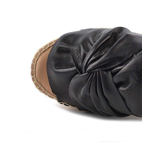 Noir Capri Chaussures Femme Sandales Espadrilles en Black Kanna xAvqBX7x
