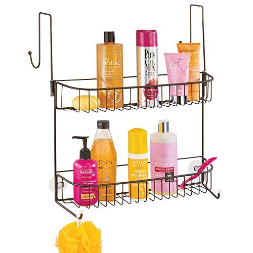 (mDesign Extra Wide Metal Wire Over The Bathroom Shower Door Caddy, Hanging Storage Organizer with Built-in Hooks and Baskets on 2 Levels for Shampoo, Body Wash, Loofahs, Rust Resistant - Bronze)