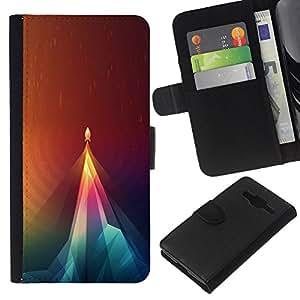 LECELL--Cuero de la tarjeta la carpeta del tirón Smartphone Slots Protección Holder For Samsung Galaxy Core Prime -- Geometría Rocket --
