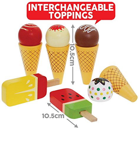 Bee Smart — Wooden Ice Cream toys set - Ice Cream Cones and Lollies Pretend Play Food Set, Magnetic Swappable Pieces for Ice Creams