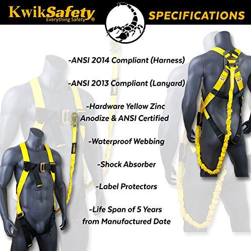 KwikSafety (Charlotte, NC) SCORPION (2 PACK) Safety Harness w/attached 6ft. Tubular Lanyard on back   OSHA ANSI Fall Protection   INTERNAL Shock Absorbing Lanyard   Construction Carpenter Scaffolding by KwikSafety (Image #4)