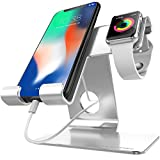 ZVEproof universal IPhone Stand,2 in 1 iwatch charger stand & Tablet Stand Dock Holder Cradle with iwatch Case 42mm,Aluminium Phone Dock for iPhone 7 8X Plus,iWatch 38mm 42mm,Tablets Up to 12.9 sliver