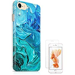 """iPhone 7 Case iPhone 8 Case (4.7"""") uCOLOR Blue Watercolor Paint Ultra Slim Hard Shell Soft TPU Dual Layer Protective Case for iPhone 7/8 with Slim Tempered Glass Screen Protector"""