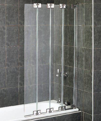 Aqualux - Parete doccia pieghevole a 4 ante per vasca da bagno, in ...