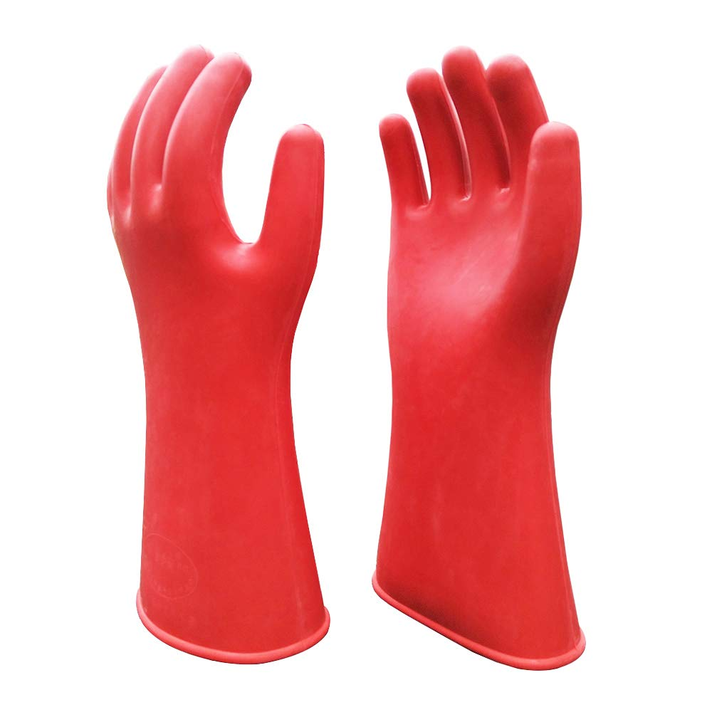 Electrical Insulated Lineman Rubber Gloves Electrician High Voltage Hand Shape Waterproof Safety Protective Work Gloves 12KV Insulating for Man Woman by ShuangAn