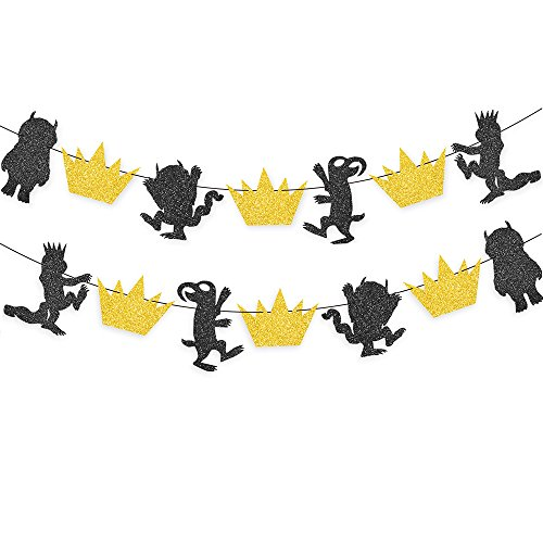 Gold And Black Glitter Where the Wild Things Are Inspired Banner Wild One Birthday Party Photo Prop Decorations
