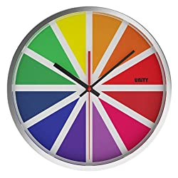 Unity Tabor Silent Sweep Non-Ticking Stainless Steel Color Wheel Wall Clock, 12-Inch, Multicolor