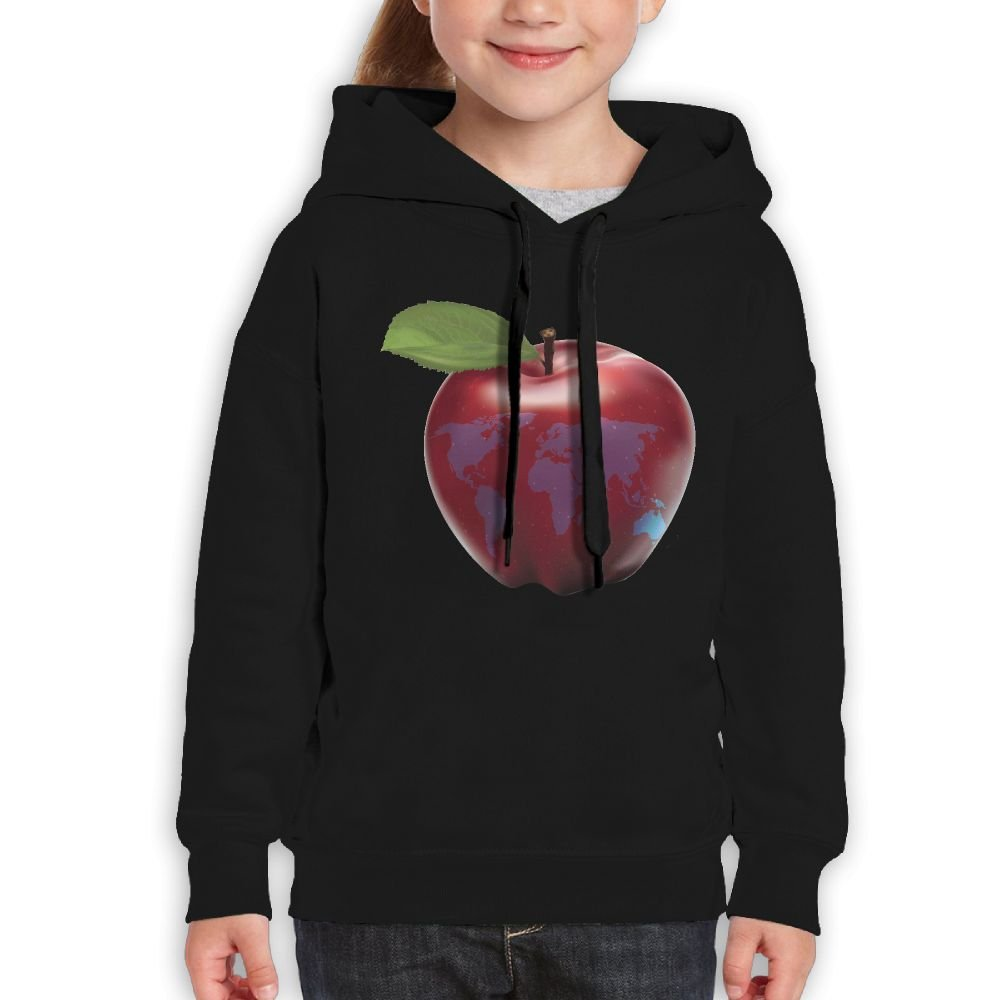 Red Apple Engrave World Map Travel Girl Classic Guys Cool Sweatshirts Casual Clothing