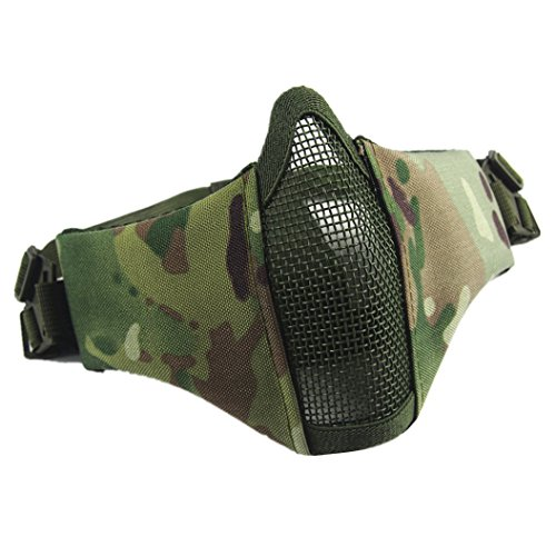 Airsoft Mask,Foldable Half Face Steel Mesh Masks Adjustable Tactical Lower Face Protective Mask with Two Strap for Airsoft Hunting Paintball Shooting Woodland