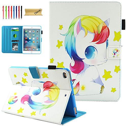 Dteck Unicorn Case for iPad Mini 5 Case 2019/iPad Mini 4 2015, Cute Cartoon Slim Leather Folio Stand Magnetic Smart Wake/Sleep Protection Case Cover for iPad Mini 5 2019 /iPad Mini 4, Unicorn Babe
