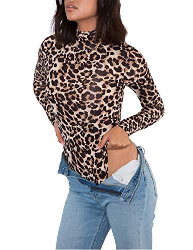 Queen.M Women's Sexy Bodysuit Turtleneck Leotard Top Long Sleeve Bodycon Jumpsuit Stretchy Romper (Leopard Print, M)
