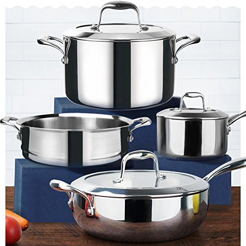 HOMI CHEF Mirror Polished NICKEL FREE 7-Piece Cookware Set Stainless Steel (Stock Pot + Sauce Pan + Saute Pan + Steamer Insert, No Toxic Non Stick Coating - Homemade Cookware) -
