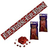 40th Ruby Wedding Anniversary Party Pack Banner, Confetti, Balloons by Cards Galore