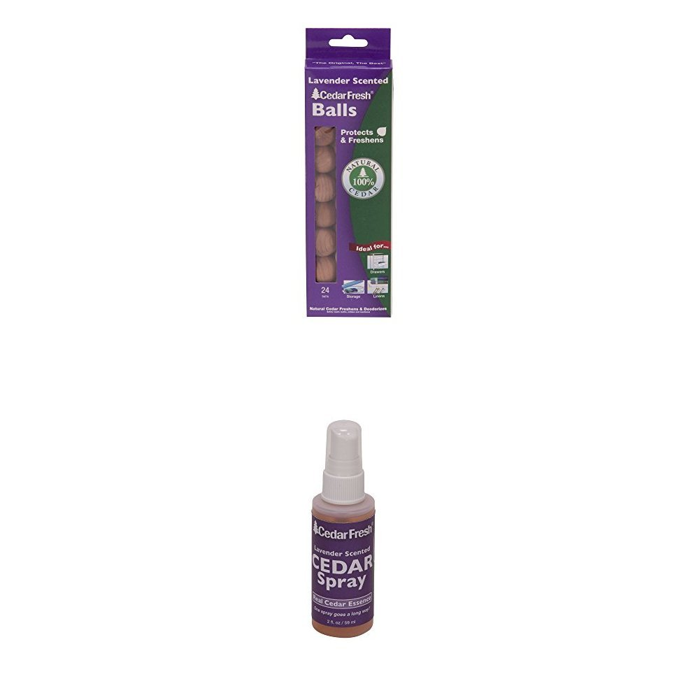 24-Count Cedar Balls and Lavender Spray | Protects Closets from Pests