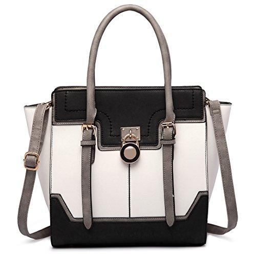 Miss LuLu Damentasche Elegant Handtasche Winged Tote Bag Groß PU-Leder Arbeit Urlaub Freizeit (LT1702-Schwarz)