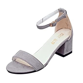 e2b6141178c96 Sannysis Frauen Single Band Chunky Heel Sandale mit Knöchelriemen Sommer  Sandalen Schuhe Damen Sandalen Flach Schuhe mit Strass Flip Flops Römer ...
