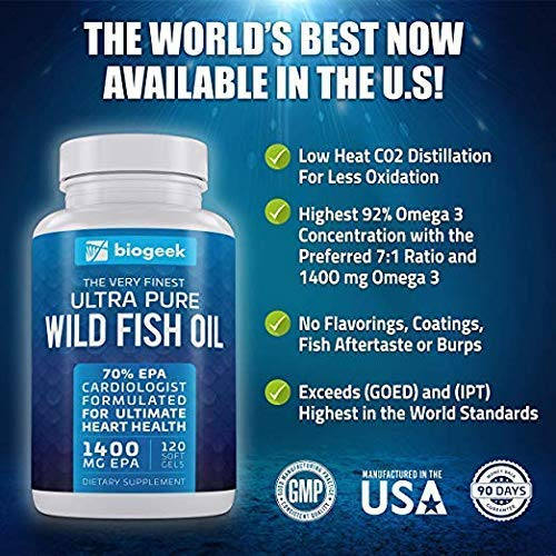 BIOGEEK V2 Omega 3 Fish Oil Pills Supplement, Max Heart Health, Highest EPA 1600mg Easy-Swallow Burpless Pearls, Promotes Skin, Eyes, Brain & Joint Health - Non GMO Softgels (120 Count)