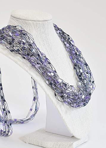 (CROCHETLACES Adjustable LIGHTWEIGHT Art Necklace Scarf- Purple)