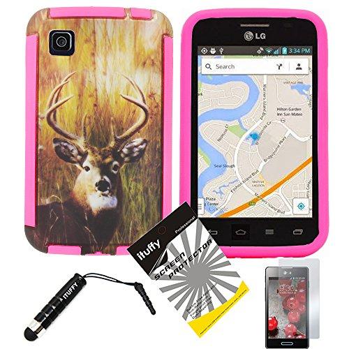 3 items Combo: ITUFFY (TM) LCD Screen Protector Film + Mini Stylus Pen + Design Wrap-Up Cover Faceplate Skin Phone Case for LG Optimus Dynamic II LG39C L39C (Net 10, StraightTalk, Tracfone) (Deer - Pink)