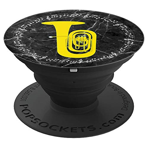Background Necktie Black (Tuba Player Gift - Music Notes Black Marble Background - PopSockets Grip and Stand for Phones and Tablets)