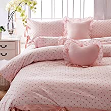 FADFAY Home Textile,Cute Korean Pink Polka Dot Girls Bedding Set,Modern Fairy Kids Bedding Sets,Designer Pink Princess Bedding Set