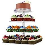 DYCacrlic Cake Stand,2018 New Style 4 Tier Square Cupcake Stand With Acrylic Bubble Rod - Clear Stacked Party Cupcake Tree - Tiered Cupcake Tower for Wedding,Happy Birthday,Parties(Limited Time Deal)