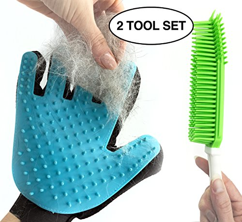 COMBO SET Pet Grooming Glove And Pet Hair Remover Brush - Best Fur Removal And Deshedding Tools For Dogs, Cats, Rabbits, Horses, Bunny Rabbits Combo Dog Brush