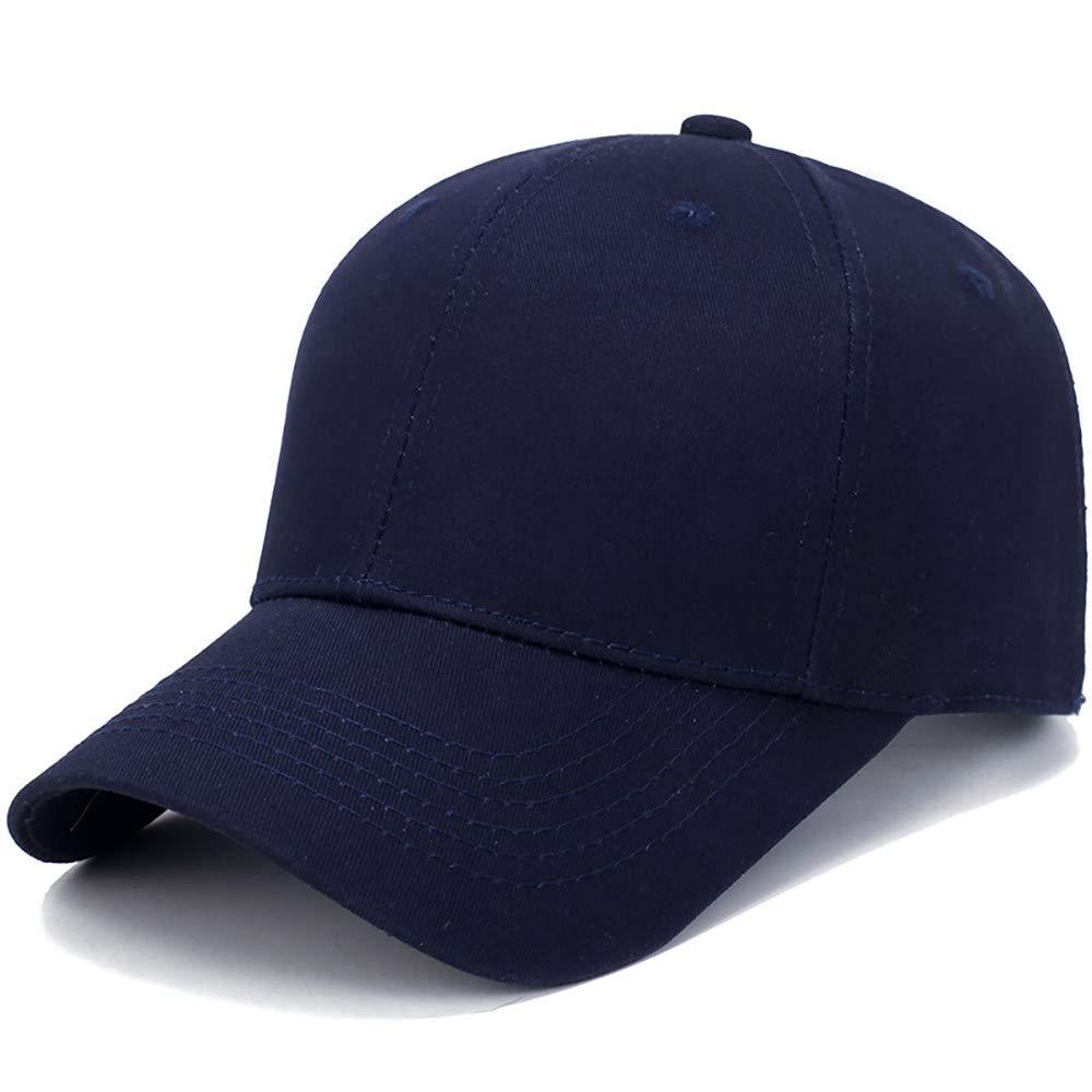 Toponly Solid Color Outdoor Sun Hat Cotton Adjustable Snapback Hats Men's Women's Hip-Hop Flat Bill Baseball Caps 56~60cm Blue