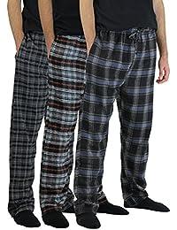 3 Pack:Men's Cotton Super Soft Flannel Plaid Pajama Pants/Lounge Bottoms