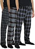 Real Essentials 3 Pack:Men's Cotton Super Soft Flannel Plaid Pajama Pants/Lounge Bottoms,Set 3-L