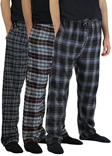 Real Essentials 3 Pack:Men's Cotton Super Soft Flannel Plaid Pajama Pants/Lounge Bottoms,Set 3-XL